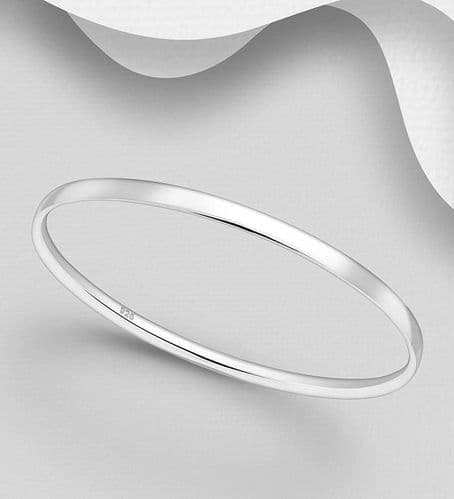 925 Sterling Silver Hand Crafted Solid Round Bangle
